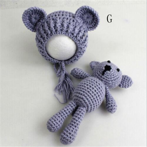 Newborn Baby Girls Boy Photography Prop Photo Crochet Knit Costume Bear Hat JD