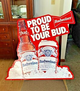 Vintage-Metal-Budweiser-Sign-034-Proud-to-be-Your-Bud-034-29-034-x-28-034-Good-Condition
