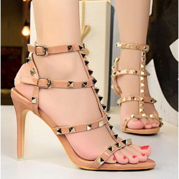sandalias de mujer 9.5 cm elegantes tachuelas tacón de aguja beige tachuelas elegantes alto como 193e8e