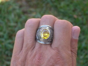 United States Air Force Military November Yellow CZ Stone Men Ring Size 7-15