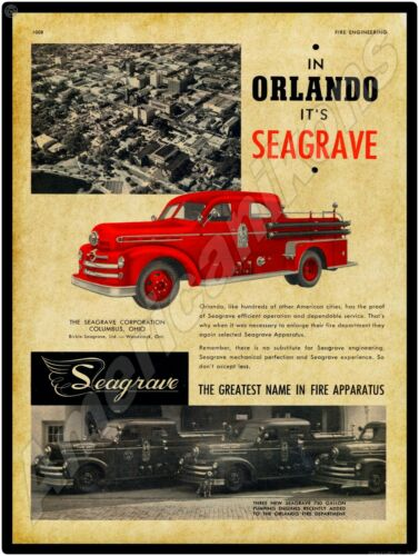 1952 Seagrave Fire Apparatus NEW Metal Sign Orlando Florida Fire Department