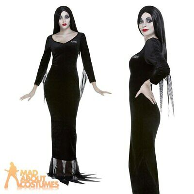 Ladies Black Morticia The Addams Family Halloween Fancy Dress Costume UK