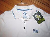 Aigle Mens Ss White Blue Trim Polo Shirt 100% Organic Cotton L
