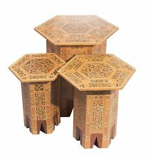 A Set Of Three SYRIAN Moorish Octagonal Wood Tables Mosaic Inlaid