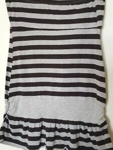 4841577774a Details about Dolled Up By Fang Black and Gray Striped Ruffle Tube Top  Junior s Size XL