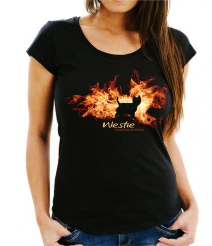 Damen T-Shirt WESTIE FEUER UND FLAMME by Siviwonder Hundemotiv