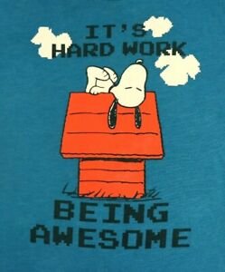 Peanuts Youth T Shirt L Large Blue Its Hard Work Being Awesome Snoopy Cartoon Ebay