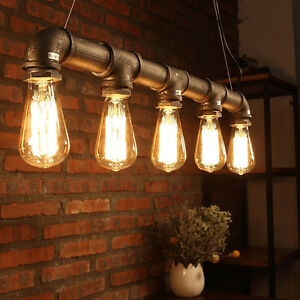 Industrial vintage chandeliers water pipe bulb pendant light pub image is loading industrial vintage chandeliers water pipe bulb pendant light aloadofball Image collections