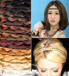 Haarband-Zopf-Stirnband-geflochten-Flechtzopf-Haarschmuck-Kunsthaar-10-Farben