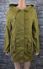 Women's Long Khaki Green Hooded Cotton Raincoat Coat Jacket Parka UK Size 16