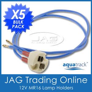 5 x 12V MR16 GX5.3 MR11 LAMPHOLDER DOWNLIGHT LAMP HOLDER- Wire Pig Tail & Socket