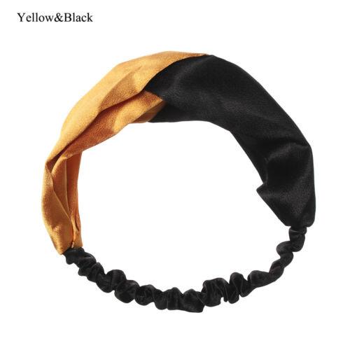 Sport Rétro Croix Bandeaux Head Wrap Fausse Soie Serre-tête élastique cheveux bande