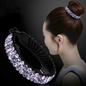 Hairpin-Hair-Clip-Holder-Crystal-Comb-Women-Girls-Ponytail-Fashion-Bun-Claw