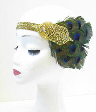 Gold & Peacock Feather Headband Vintage 1920s Headpiece Great Gatsby Flapper V09