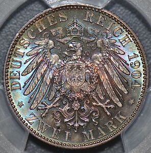 PCGS-MS66-1904-Saxony-Death-germany-2-Mark-green-blue-purple-toning-PC0006