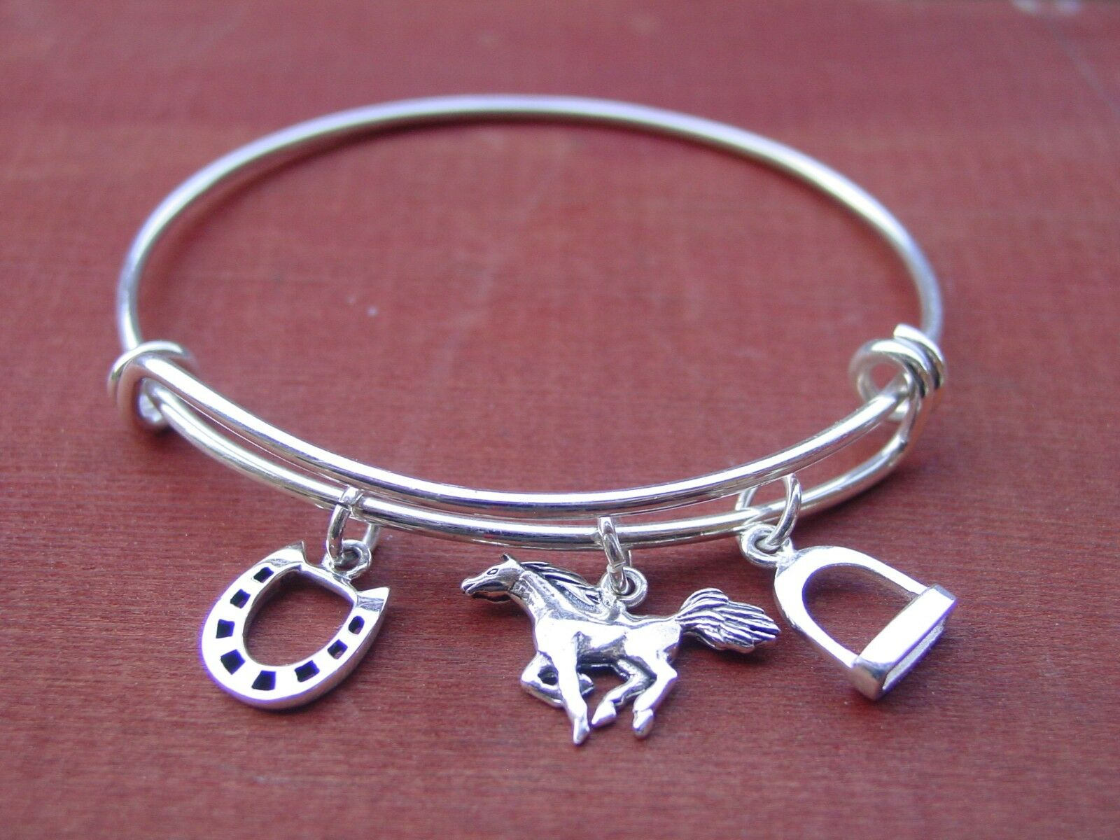 Equestrian Charms Adjustable Bangle, Stirrup, Horseshoe and Mustang Horse Bangle