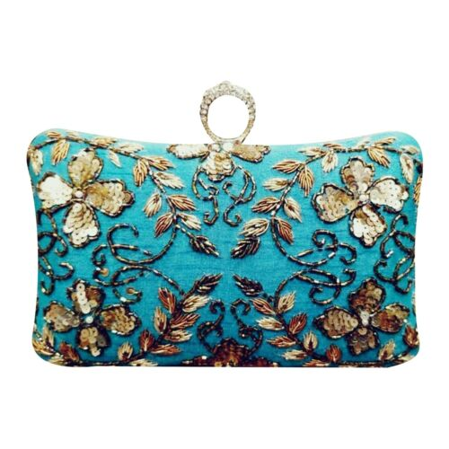 Details about  /Women Ethnic Clutch Gold Embroidery Handmade Sling Purse Cocktail party Silk Bag