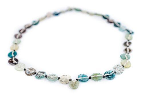 Medley Roman Glass Button Beads 8mm Afghanistan Green Flat 16 Inch Strand