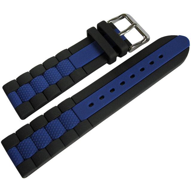 d086ff77e7c 22mm Hadley-Roma MS3344 Black Blue Stripe Silicone Rubber Dive Watch Band  Strap