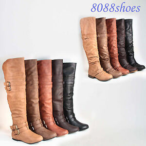 Women-039-s-Round-Toe-Low-Flat-Heel-Buckle-Slouchy-Thigh-High-Boot-Shoes-Size-5-10