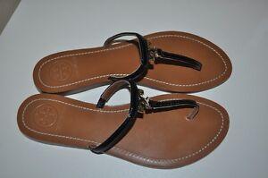 e48f97036f1b6  175 Tory Burch T Logo Flat BLACK Safflino Leather Thong Sandal 11 ...