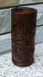 ANTIQUE-19C-CHINESE-BAMBOO-WOOD-HAND-CARVED-BRUSH-HOLDER-POT-IMMORTALS
