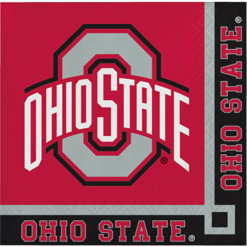 40ct Ohio State University Buckeyes  2-ply Beverage Napkins Party college party