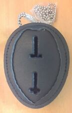 Recessed Badge Shield Leather Neck Chain Belt Clip Holder Case Police Security