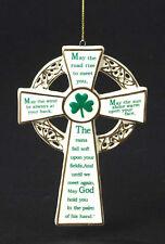 KURT S ADLER PORCELAIN IRISH CROSS w/ IRISH SAYINGS BLESSINGS CHRISTMAS ORNAMENT