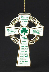 KURT S ADLER PORCELAIN IRISH CROSS w/ IRISH SAYINGS BLESSINGS ...