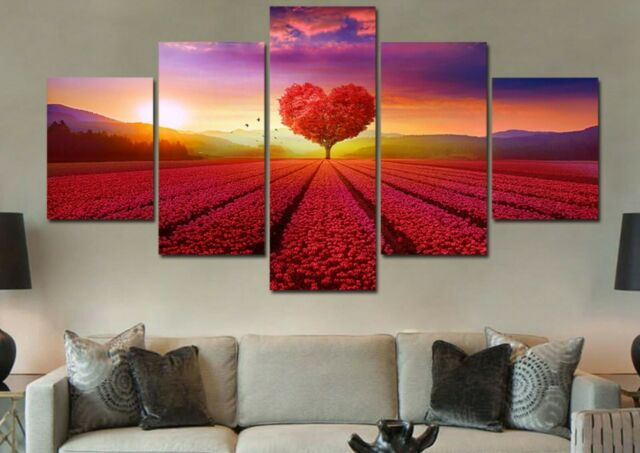 Framed Romantic Tree 5 Panel canvas Wall Art Home Decor Poster Print Picture
