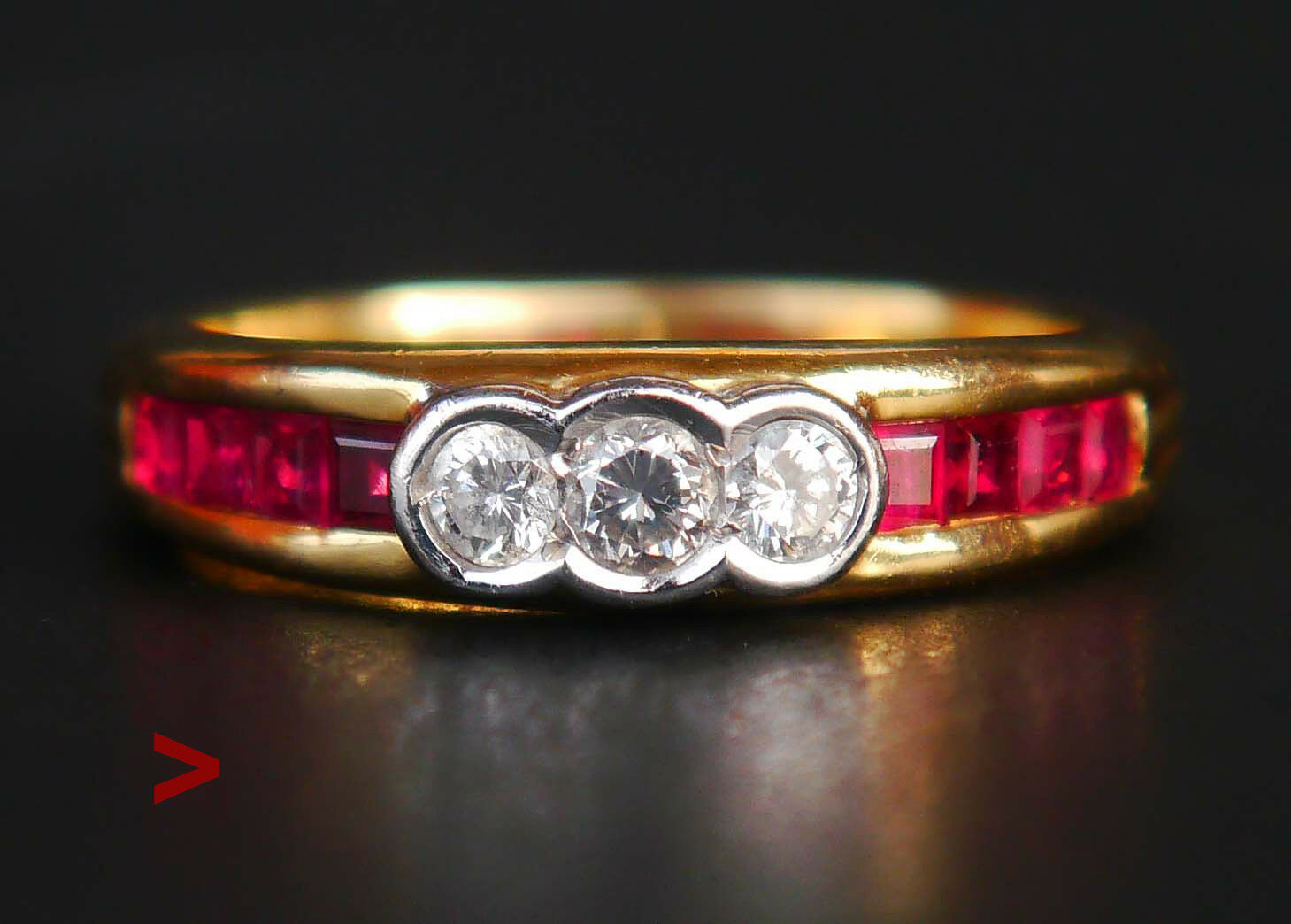 Ring solid 18K Yellow gold Ruby Diamonds Size Ø 6.25 US   4.4gr
