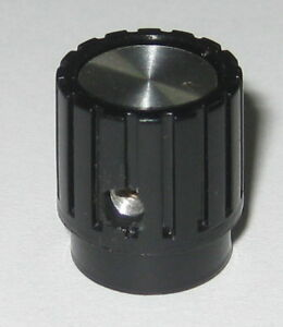 Instrument-Knurled-Knob-1-8-034-Inside-Dia-Black-Plastic-Brushed-Aluminum