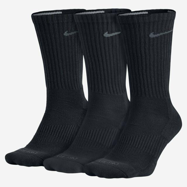 Nike Black 3 Pair Cushion Crew Training Socks Men's Size M 18421