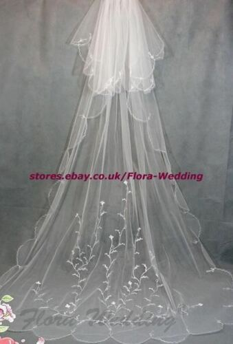 "2-Tier 95/""L Chapel//Cathedral Long Trailing Bridal Wedding VEIL,Embroidery Design"