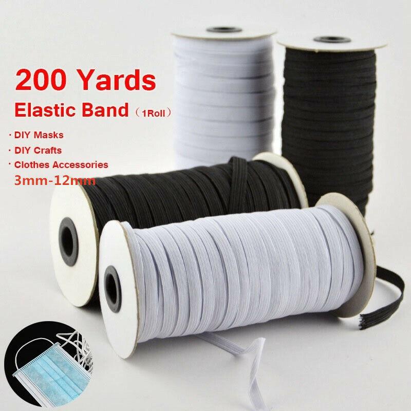 "100/200 Yards Braided Elastic Band Cord Knit Band Sewing DIY 1/4""/6mm Bulk Roll 3"