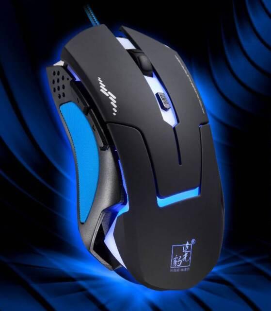 Ratón 6 Botones LED óptico Laser USB Wired Para PC Laptop Gaming 3200DPI Mouse