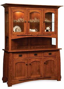 Image Is Loading Amish Mission Arts Amp Crafts Hutch China Cabinet