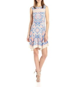 NEW-BCBG-MAXAZRIA-MERCEY-PAISLEY-PRINT-DRESS-JXY64L21-B847W-SIZE-L