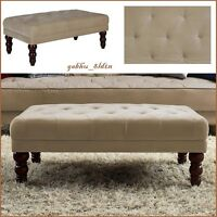 Vintage Tufted Ottoman Taupe Velour Bench Victorian Style Legs Coffee Table