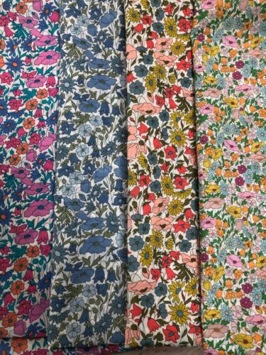 Liberty Tana Césped Tela chatarra Pack amapola /& DAISY//Bosque impresiones 100/% algodón