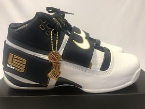 buy online d1444 9c15d Details about Nike Zoom LeBron Soldier 1 25 Straight Size 9.5 SHIP NAVY  WHITE