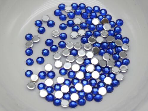 2000 Royal Bleu Acrylique à Facettes Ronde Flatbacks strass Gems 3 mm 12ss