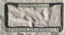 OLD License Plate FRAME BAY Freeman TOYOTA Santa Rosa CA 60's 70's SUPRA TRUCK