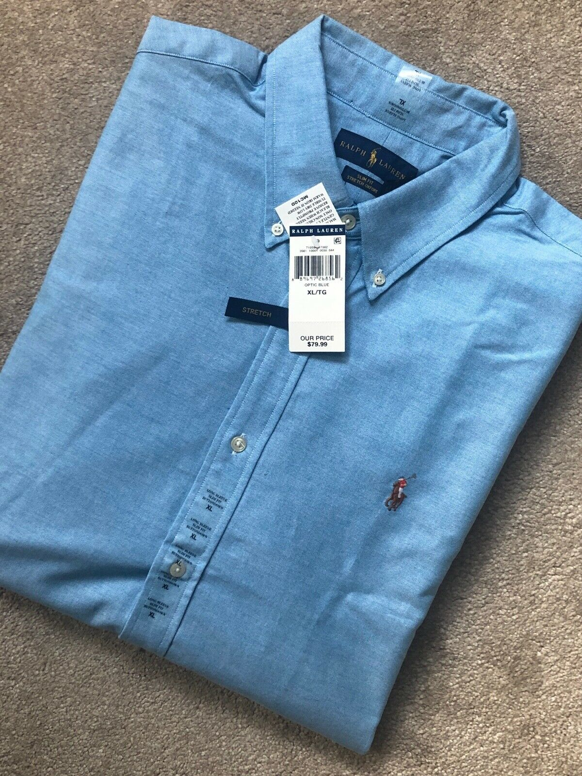 Ralph Lauren  Óptica Azul Oxford Calce Ajustado L S Shirt Top Usa Modelo-XL-Nuevo Etiquetas  primera vez respuesta