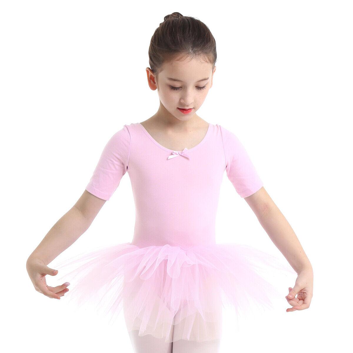 Girls Ballet Dance Dress Gymnastic Short Sleeve Leotard Tutu Skirts Dancewear UK