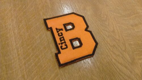 1 x Varsity College Style Letter Personalised Name Patch Motif ORANGE colour