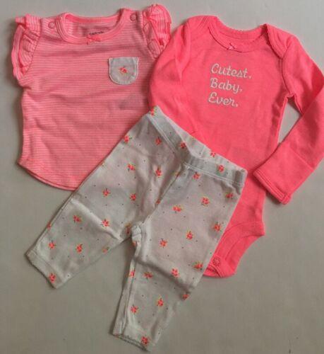 Carters Baby Girl Ruffle Top Bodysuit Pant Set Newborn Neon Pink Floral Layette