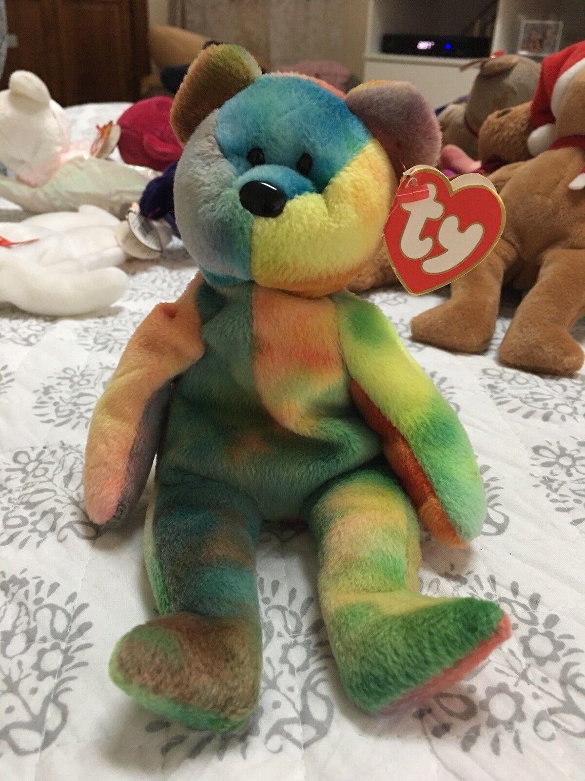 Rare 3rd Gen Garcia Beanie Baby Bear   Mint   Beautiful colors