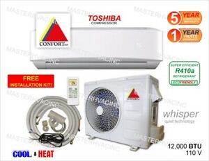 12-000-BTU-Ductless-Air-Conditioner-Heat-Pump-Mini-Split-110V-1-Ton-With-Kit